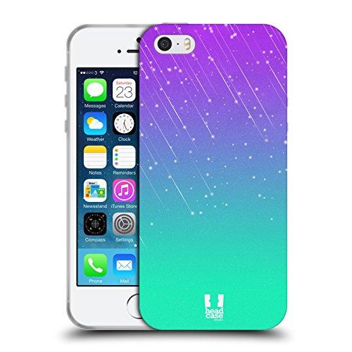 Head Case Designs Purple Aqua Neon Rain Ombre Soft Gel Case for Apple iPhone 5 / 5s / SE