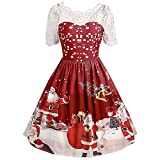 Christmas Women Costumes Ladies Sexy Vintage O Neck Lace Short Sleeve Print Gown Party Swing Dress Santa Christmas Xmas Gifts Mini Dress Tops (Wine -1, 16 UK)