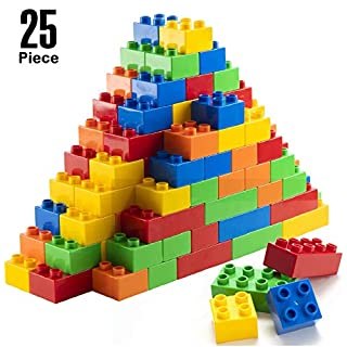 Prextex 25 Piece Classic Big Building Bricks Large Toy Blocks STEM Toy Bricks Set Compatible with All Major Brands Perfect Beginner Pack or Bricks Refill Set for All Ages