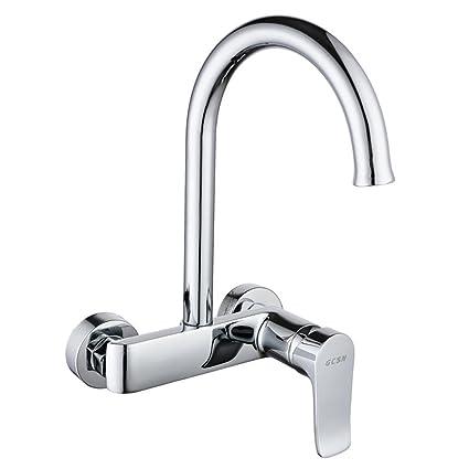 Amazon.com: BiuTeFang 307 Wall-mounted kitchen faucet double ...
