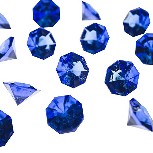 Blue Sapphire Stone - Acrylic Colorful Round Treasure Gemstones for Table Scatter, Vase Fillers, Event, Wedding, Arts & Crafts, Birthday Decorations Favor (36 Pieces) by Super Z Outlet (Royal Blue)