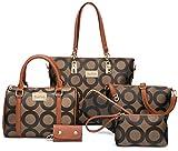 Women Shoulder Bag Tote Bag for Work Handbag and Purse 6 Piece Set Bag (Brown-Y)