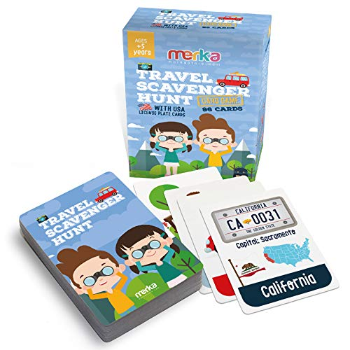 merka Educational Flash Cards Roadtrip Games Kids Flashcards Travel Scavenger Hunt Set Objects to find on Road License Plates