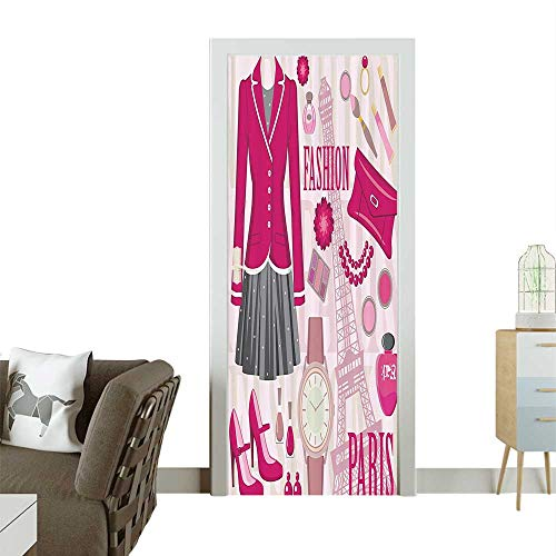 Door Sticker Wall Decals Fashi Theme in Paris with Outfits Dress Watch Purse Perfume ParisieLandmark Easy to Peel and StickW38.5 x H79 INCH ()