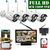 【2019 Update】 10 inch Screen HD 1080P 8-Channel Outdoor Wireless Security Camera System,4pcs 1080P Wireless IP67 Weatherproof IP Cameras,70FT Night Vision,P2P,App, 1TB Hard Drive
