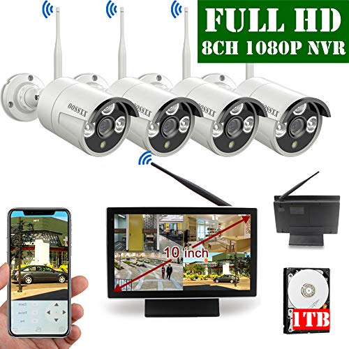 【2019 Update】 OOSSXX 10 inch Screen HD 1080P 8-Channel Wireless Security Camera System,4pcs 1080P 2.0Megapixel Wireless Weatherproof Bullet IP Cameras,Plug and Play,70FT Night Vision,P2P,App, 1TB HDD