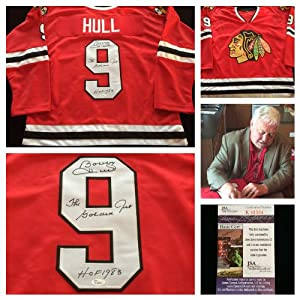 Bobby Hull Chicago Blackhawks Signed Autograph Red Jersey #9. JSA COA