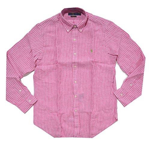 Polo Ralph Lauren Mens Ocean Washed Linen Buttondown (X-Large, Pink/White)