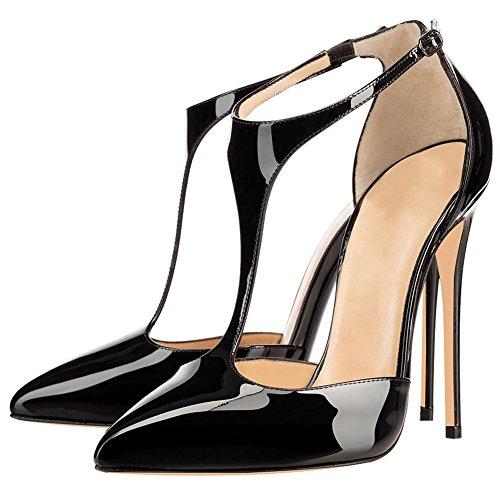 de Negro fiestas de Tacones T para boda finos mujeres Tiepos puntiagudos MERUMOTE altos zapatos en forma punta con para para HZqBR