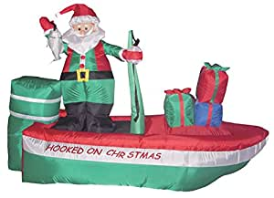 8 foot long inflatable santa claus on a for Blow up boat for fishing