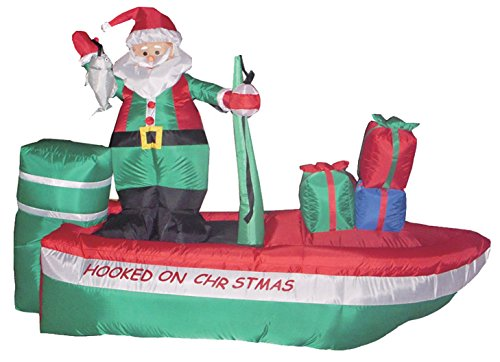 8 Foot Long Inflatable Santa Claus on a Fishing Boat]()