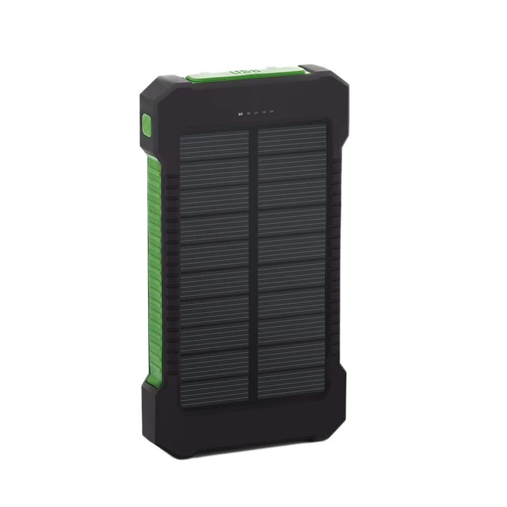 TOOGOO 10000Mah Gran Capacidad Banco de Energ/ía Solar USB Dual Cargador de Bater/ía Solar Port/átil Universal Cargador de Tel/éfono M/óvil Negro Verde