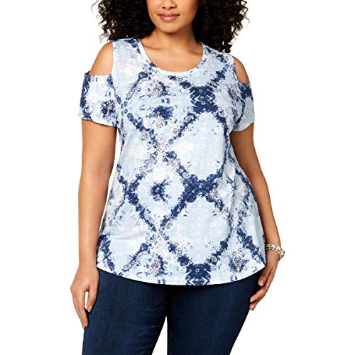 (Style & Co. Womens Cold Shoulder Printed T-Shirt Blue M)