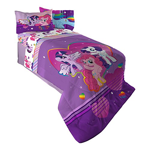 Hasbro My My Little Pony Ponyfied Reversible Comforter, Twin/Full, Pink/Purple (Size My Little Full Bedding Pony)
