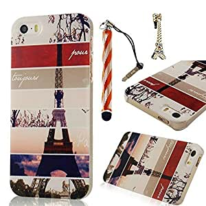 Sunshine Case 5S Case iPhone 5 Case Coloful Painted PC Protective Case for iPhone 5 5S Cover Case +1x Stylus Pen +1x Auti Dust Plug - Eiffel Tower