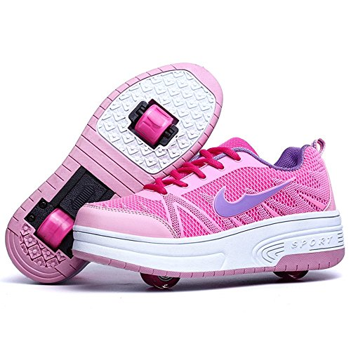 QOUJEILY Mesh Roller Skate Double Wheels Sport Trainer Roller Shoes