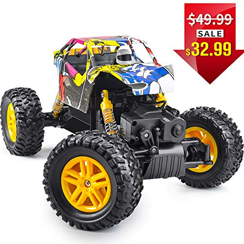 DOUBLE  E RC Cars 1: 18 Dual Motors Rechargeable Remote Control Truck 4WD Off Road RC Truck Rock Crawler