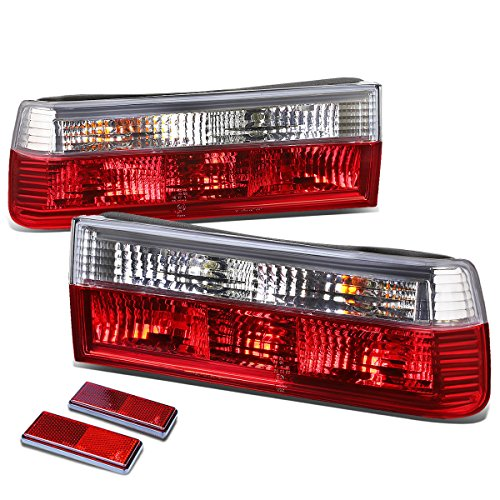 BMW E30 3-Series Pair of Chrome Housing Red Rear Brake+Signal Tail Light