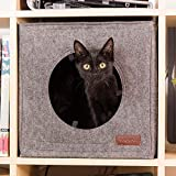 Thick Felt Cat Cave for IKEA Shelf - with Pillow & Reinforced Top - Easy Travel Cat Cube is Machine Washable - Foldable Cat Houses for Indoor Cats