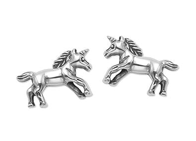 Sterling Silver Unicorn Stud Earrings - SIZE: 12mm x 7mm. Gift Boxed Unicorn Earrings 5073 aC8zSuZOL0