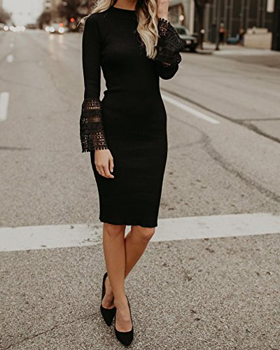 Valphsio Bodycon Dresses Women's Dresses Bell Midi Neck Mock Knit Sweater Sleeve Black qRdCqrS8w