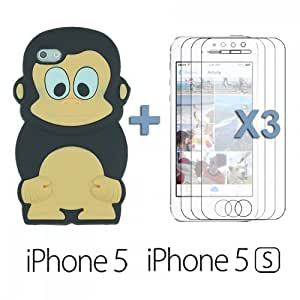OnlineBestDigital - Monkey Style 3D Silicon Case for Apple iPhone 5S / Apple iPhone 5 - Black with 3 Screen Protectors