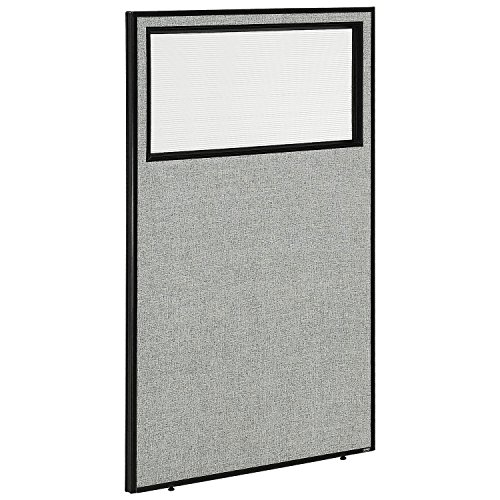 36-1/4W x 60H Office Partition Panel with Partial Window, Gray