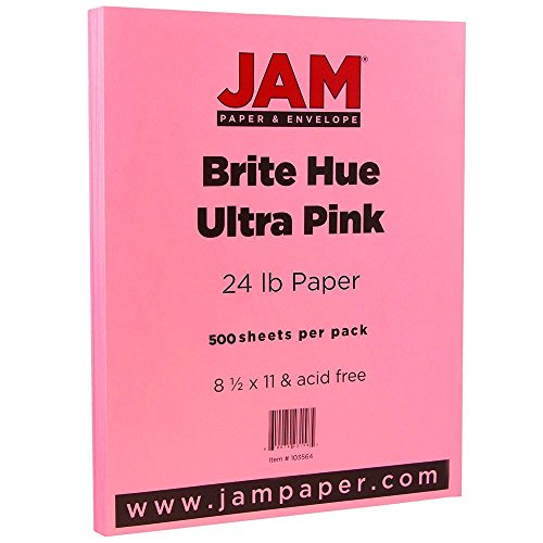 JAM PAPER Colored 24lb Paper - 8.5 x 11 - Ultra Pink - 500 Sheets/Ream