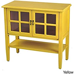 Heather Ann Creations Modern 2 Door Accent Console Cabinet with 4 Pane Glass Insert and Bottom Shelf Yellow