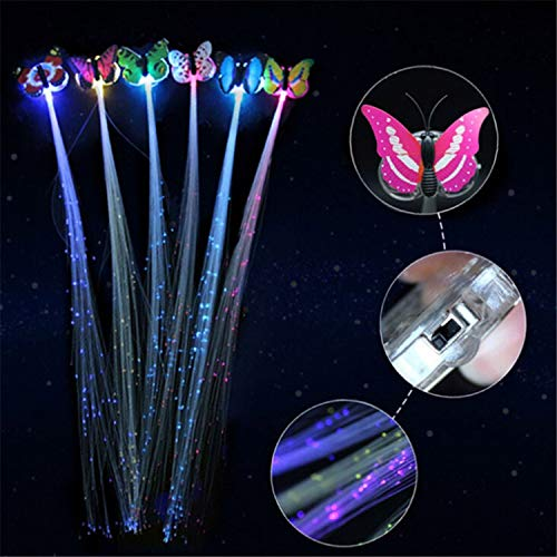 1PCS Color Random LED Fiber Hairpin Clip Light Up Headband Party Glow Supplies Shining Hair Braids Barrette, -