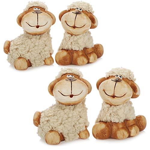 com-four® 4X ovejita de Peluche Decorativa con Piel – Figuras Decorativas para decoración de Pascua – Oveja de Pascua…