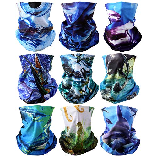 Yerwal 9pcs Windproof Seamless Skull Face Mask Bandana for Riding Cycling Motorcycle Cold Weather Multifunctional Headwear Tube Mask Bandana Magic Headbands Outdoor UV Dustproof (Sea Animals 1) ()
