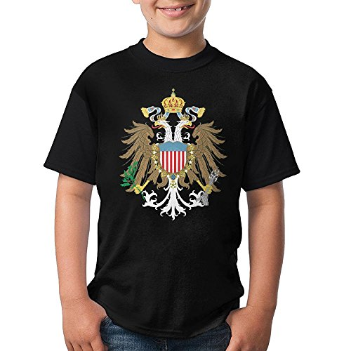 (American Monarchy Coat Of Arms Teen's Short Sleeve T-ShirtTee Round Neck For Youth Boys KidsFuny Small)