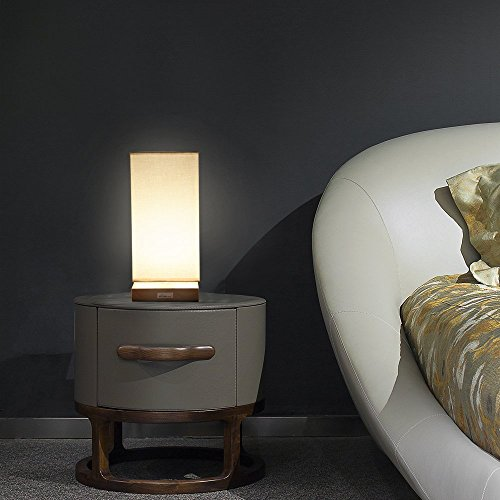 HAITRAL Table Lamp Bedside Desk Lamp with Fabric Shade Wood Base Night Light for Bedroom, Living Room, Baby Room, College Dorm by HAITRAL (Image #7)