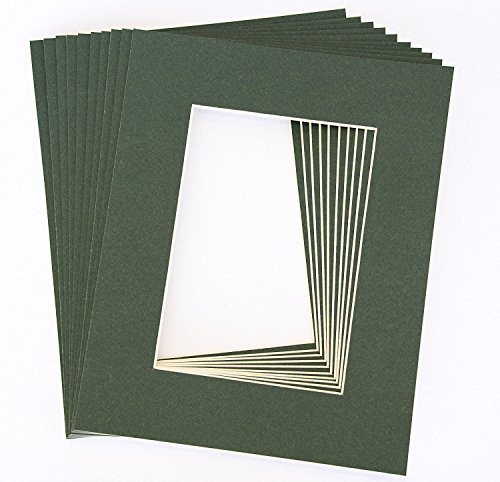 Dark Green Frame - Pack of 10 DARK GREEN 11x14 Picture Mats Matting with White Core Bevel Cut for 8x10 Pictures