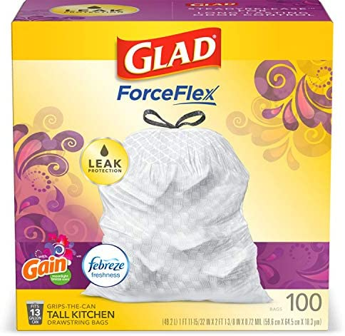 Glad ForceFlex Tall Kitchen Drawstring Trash Bags 13 Gal 100 Ct (Package May Vary)