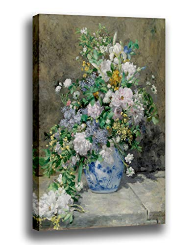 Canvas Print Wall Art - Spring Bouquet- by Pierre Auguste Renoir - Giclee Prints Stretched in Gallery Wrap Style with Mirrored Edges - 10x13 inch