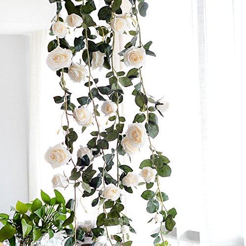 Bqee 2個(6ft) Fake Australianローズつるガーランド人工花植物ホテルウェディングホームパーティーガーデンクラフトアートデコレーション B07CWWZGB4 ホワイト