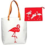 XL Large Cotton Canvas Flamingo Tote and Accessory Bag Set for Beach Essentials, Towels, Travel, Mom, Work