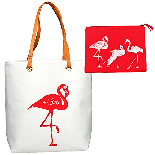XL Large Cotton Canvas Flamingo Tote and Accessory Bag Set for Beach Essentials