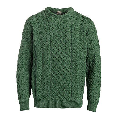 Boyne Valley Knitwear Traditional Aran Sweater,Green,Large ()