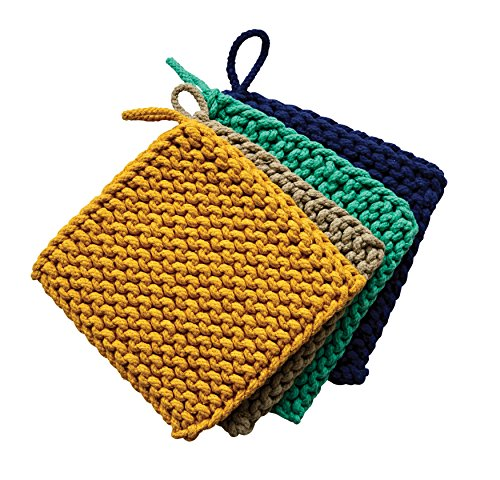 Crocheted Pot Holder - Creative Co-Op Square Cotton Crocheted Pot Holders (Set of 4 Colors)