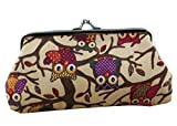 iSuperb Coin Pouch Owl Purse Canvas Handbag Gift Jewelry Cards Trinkets Pouch Clasp Closure Wallet 7.1x3.7inches(Khaki)