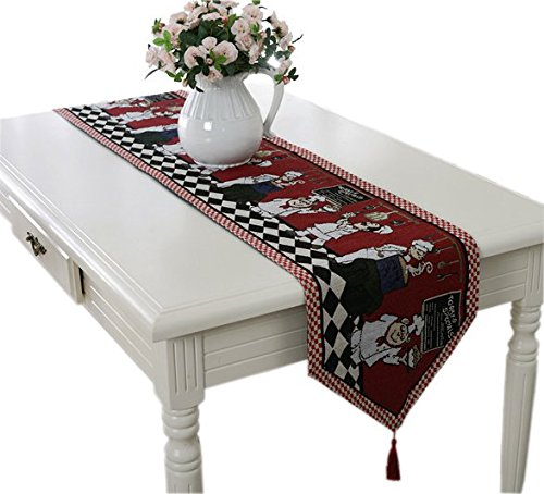Yoovi Holiday X'mas Retro Jacquard Table Runner Red Cook