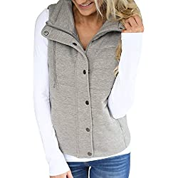 Valphsio Women's Packable Lightweight Quilted Outdoor Puffer Vest Jacket Hooded Coat with Pocket