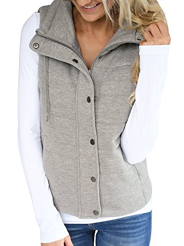 Ofenbuy Womens Vest Lightweight Quilted Drawstring Jacket Casual Button Closure Outerwear Grey X-Large