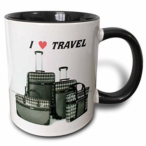 Florene Décor II - Black n White Suitcases With Words I Love Travel - 11oz Two-Tone Black Mug (mug_41709_4)