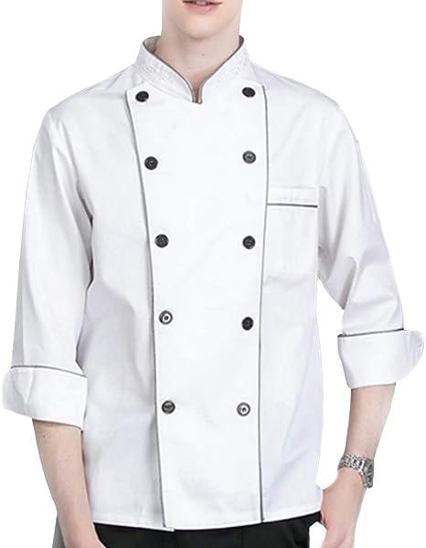 WMOFC Unisexo Chaqueta Chef,Camisa De Cocinero,Transpirable Cocina Uniforme Tops,Chefs Jacket Coat Hotel Camareros Hostelería Ropa Trabajo: Amazon.es: Deportes y aire libre