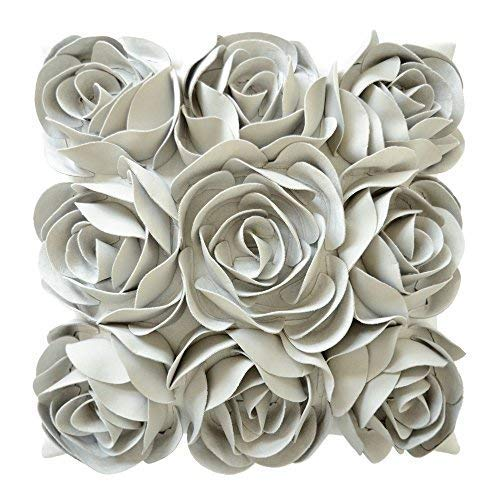JWH 3D Rose Flowers Accent Pillow Case Handmade Solid Suede Cushion Cover Decorative Pillowcase Home Bed Living Room Couch Shell Gifts 18 x 18 Inch Light Gray