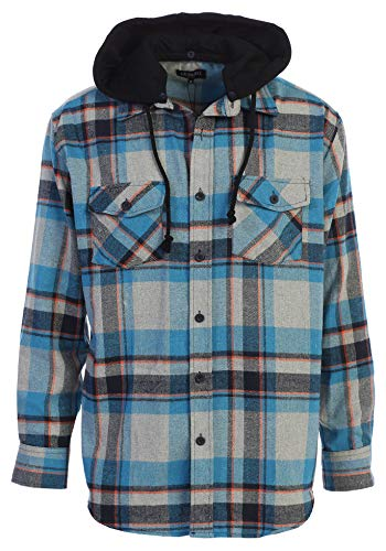 Gioberti Men's Removable Hood Plaid Checkered Flannel Shirt, Gray/Teal/Orange Highlight, ()